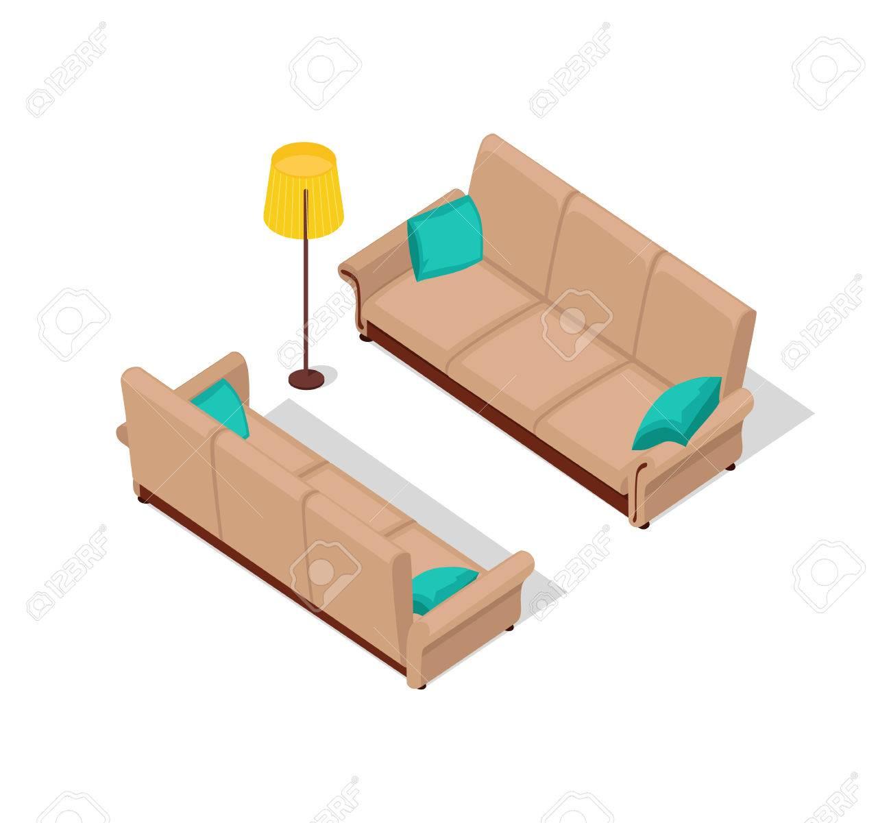 Sofa Und Lampe Isometrische Design. Möbel Isometrische, Innen Sofa Und  Lampe, Wohnzimmer Möbel