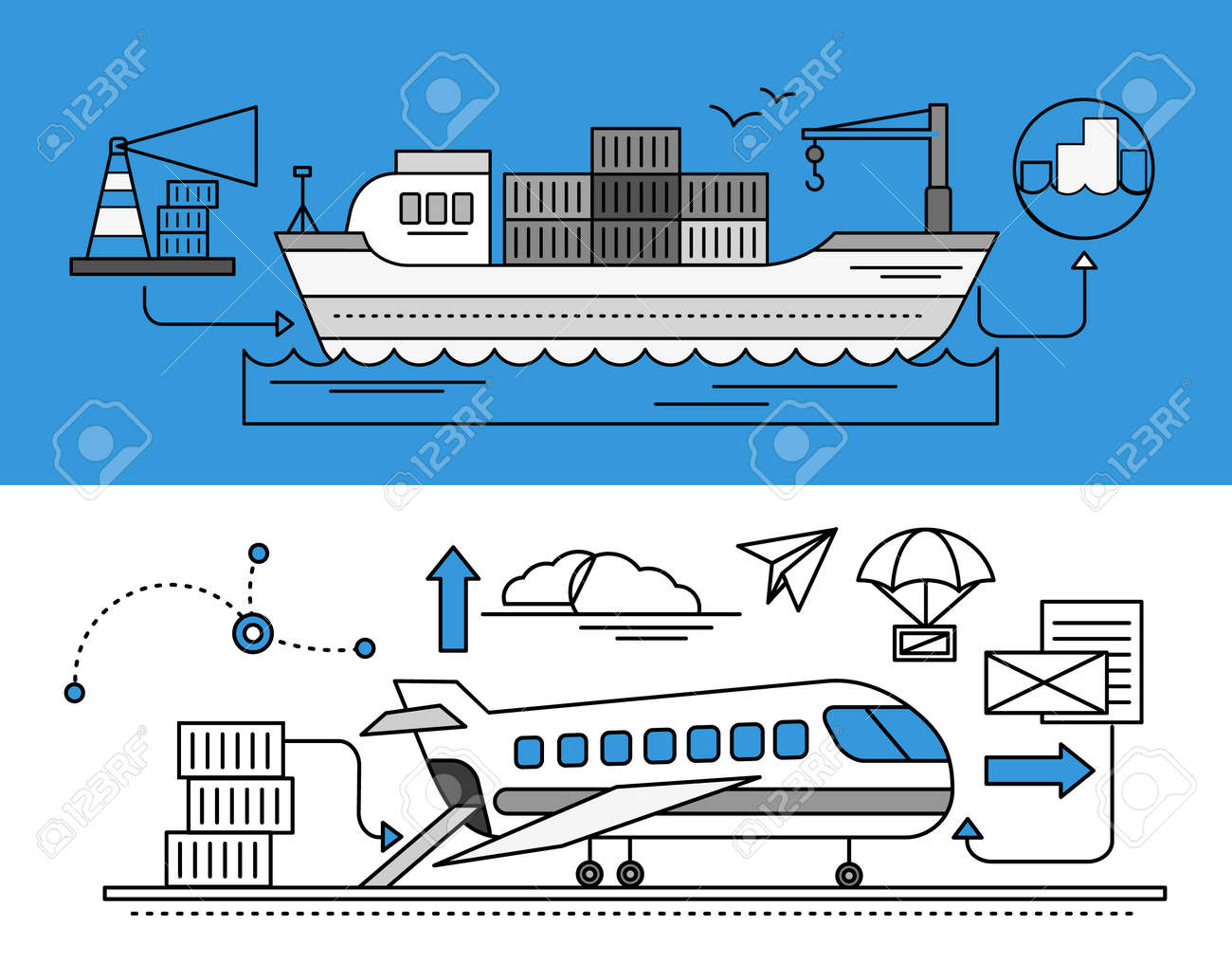 海路と空路の物流の概念。輸送配送、発送インポート業界、流通、物流 ...