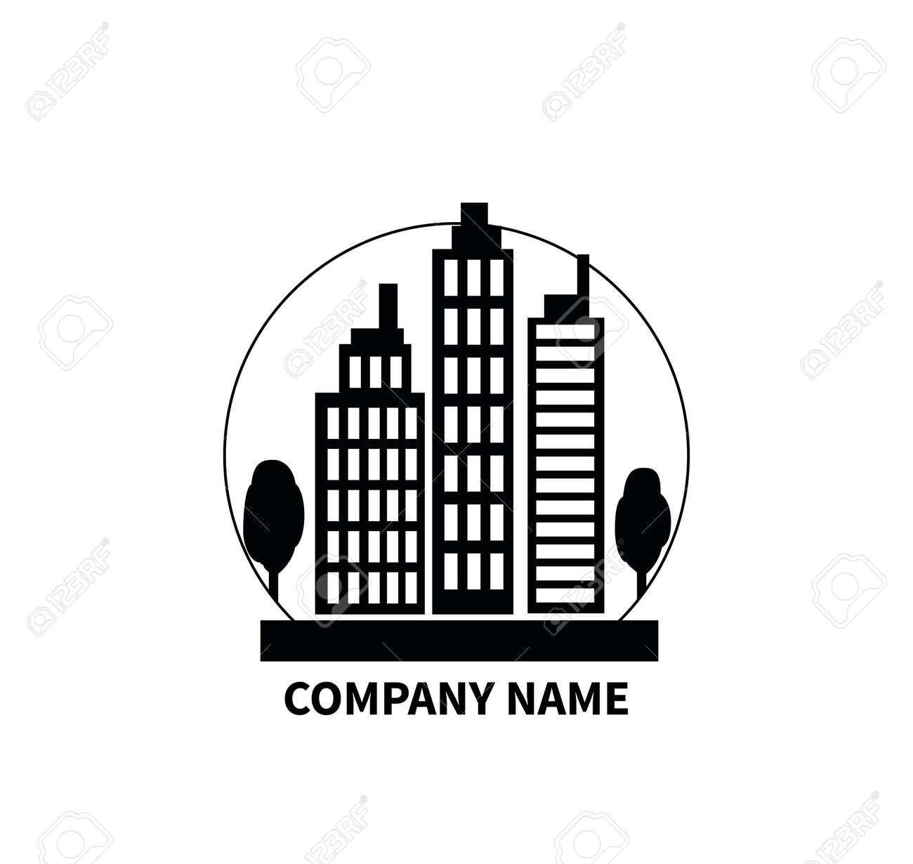 Extrêmement Bâtiment Logo Signe Plat. Nom De La Compagnie. Construction Icône  UI45