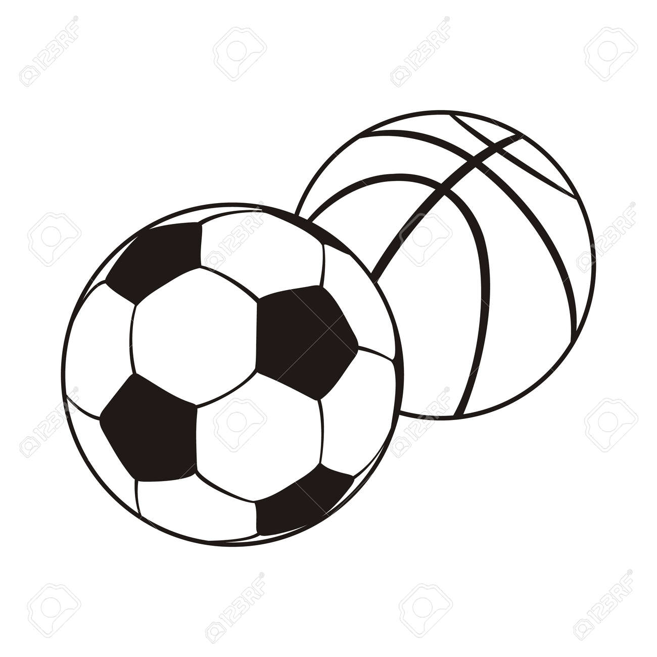 Awesome Monochrome Set Ball For Football And Basketball. Black White Sports Balls  For Playing Football And
