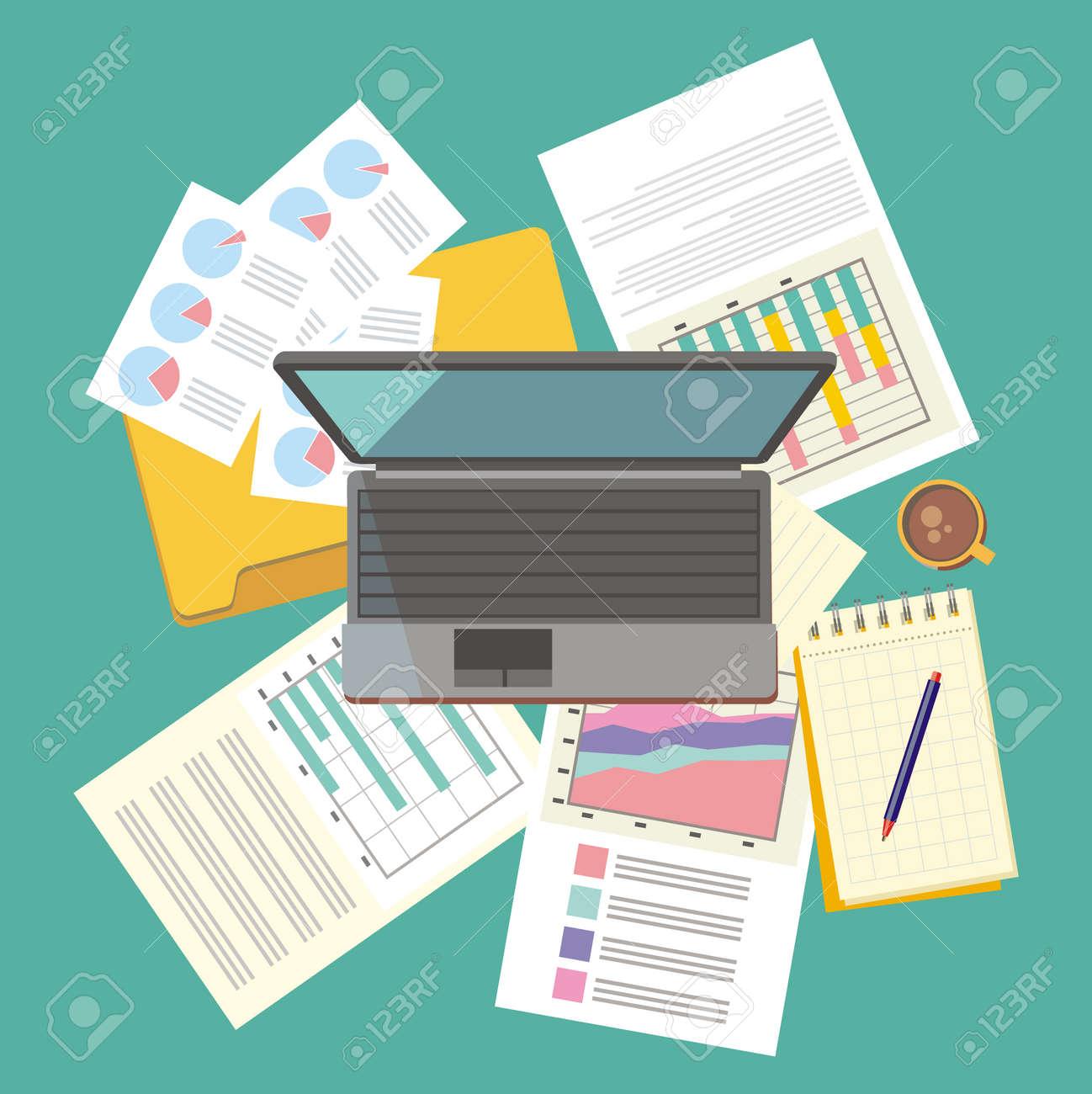 Arbeitstisch Dokument Und Laptop Design Flach Arbeitsplatz Buro