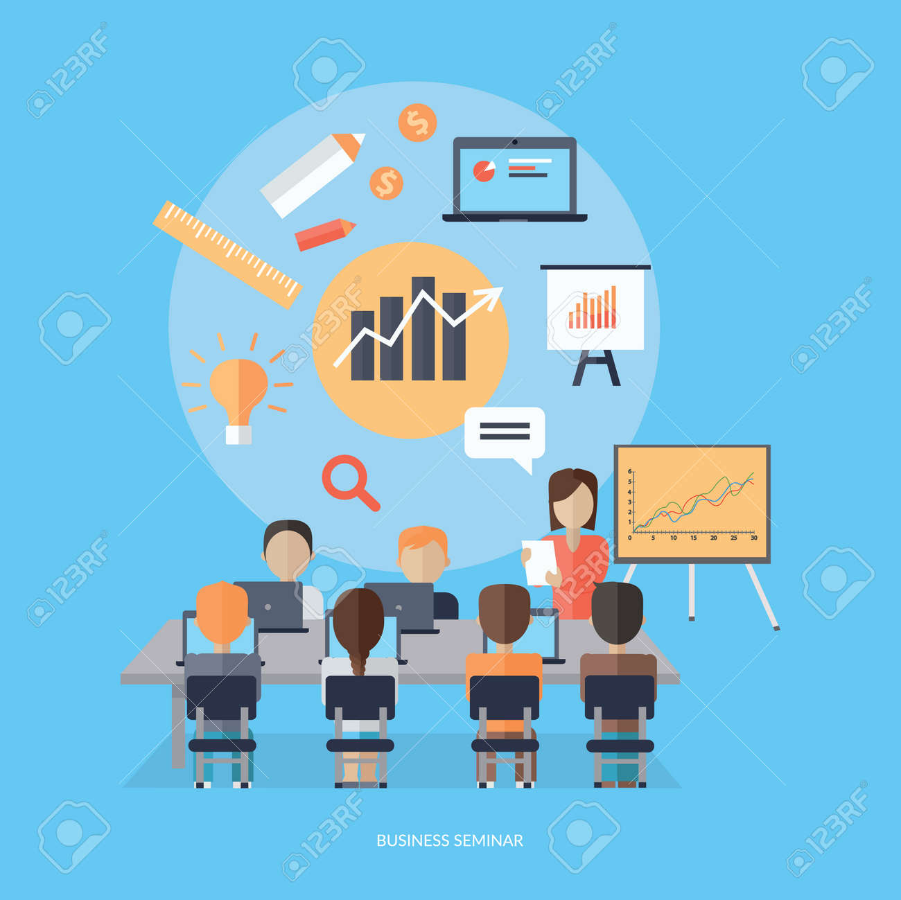 Training staff briefing presentation. Staffing and corporate training, employee seminar, mentor and people, business seminar, meeting group illustration. Woman near board with carts and graphs - 56399866