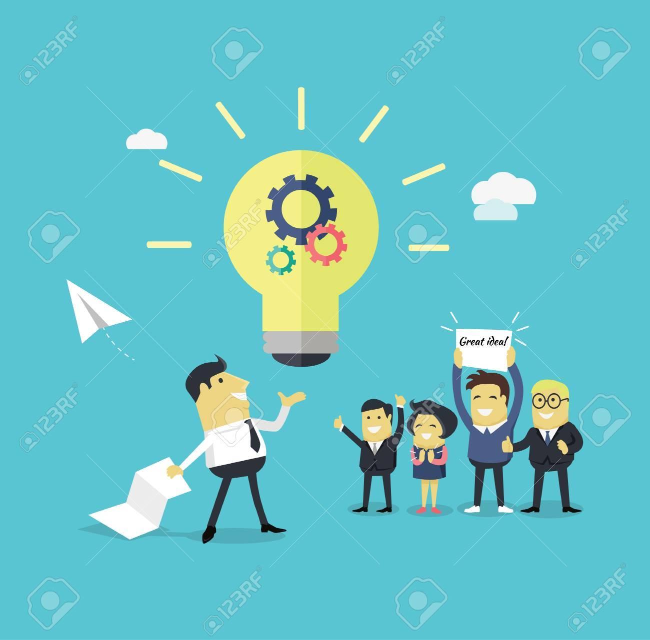 Erfolgreiche Design-Konzept Große Idee Design Flach. Geschäftsmann ...
