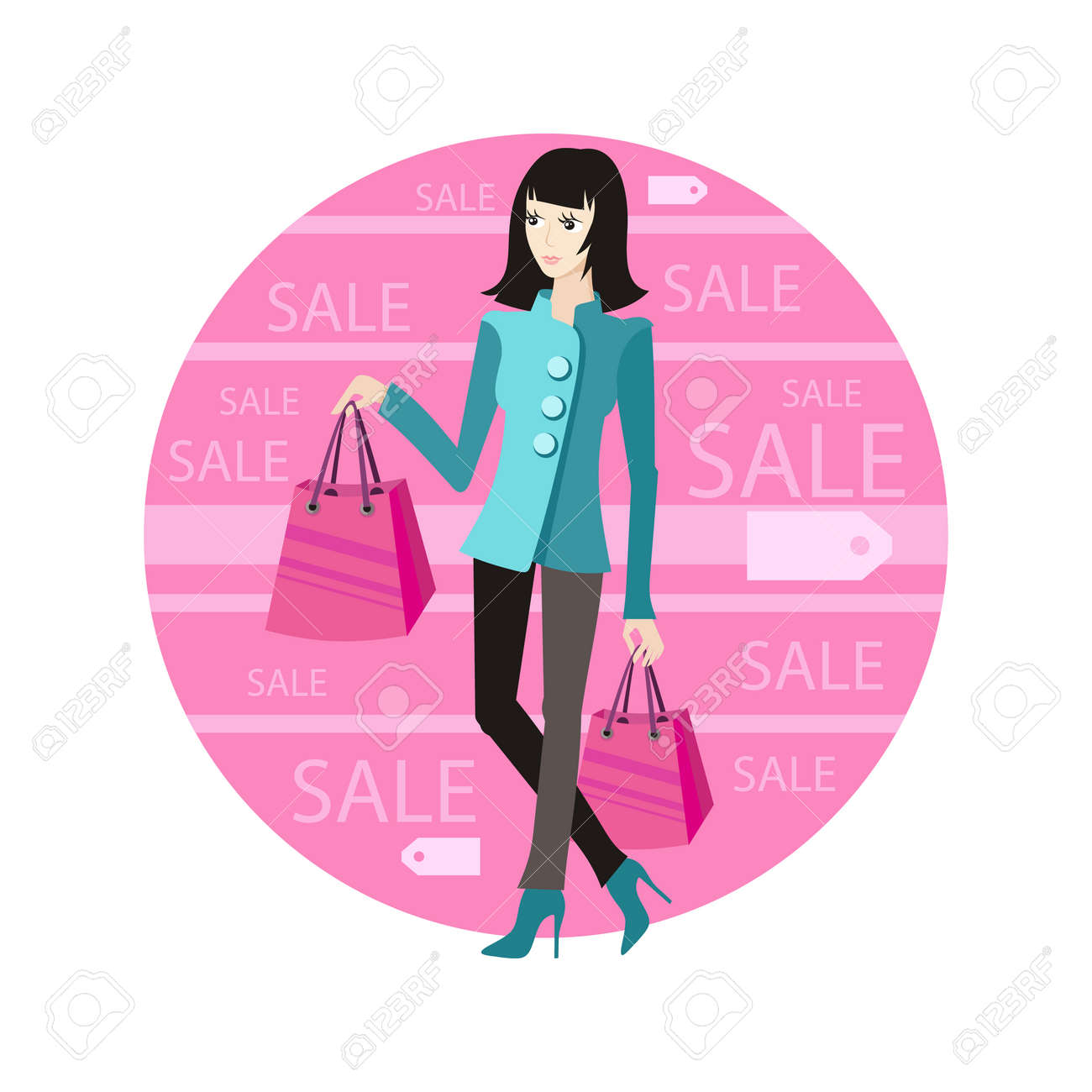 Icon Sale, Woman With Purchase. Young Girl Shopaholic With ...