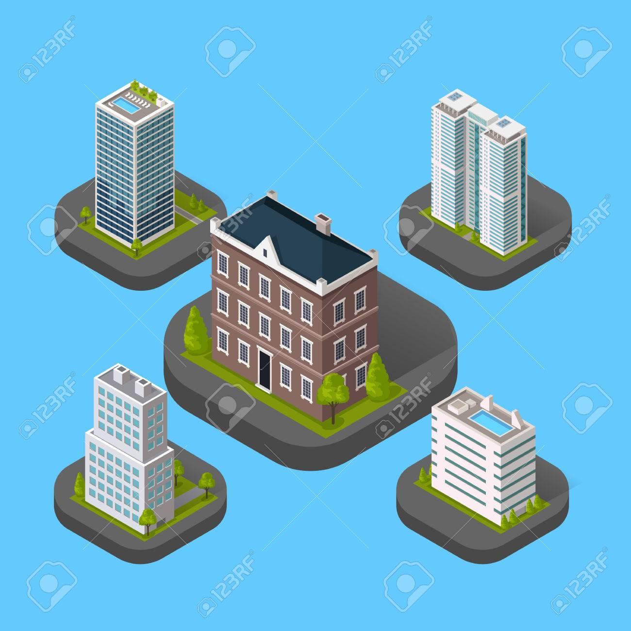 Isometrischen Gebäude Set-Design Flach Stil Isoliert. 3D Modernes ...