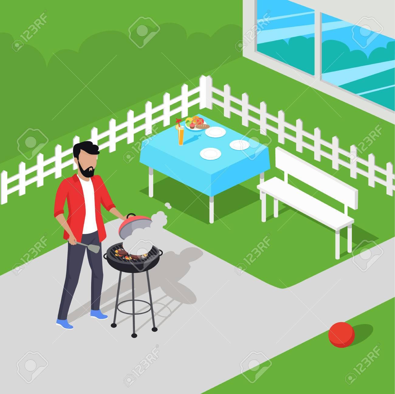 Father Preparing Barbecue Design Flat. Dad Prepares A Barbecue ...