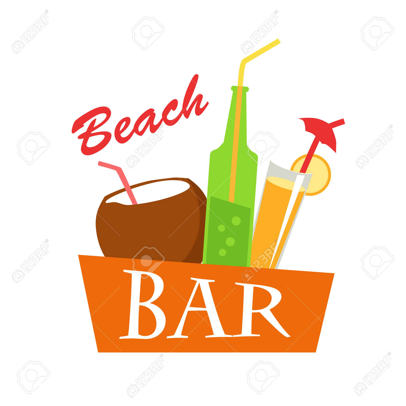 Beach Bar Vector Flat Illustration Cold Drinks For Summer Vacations Set Juice Coconut