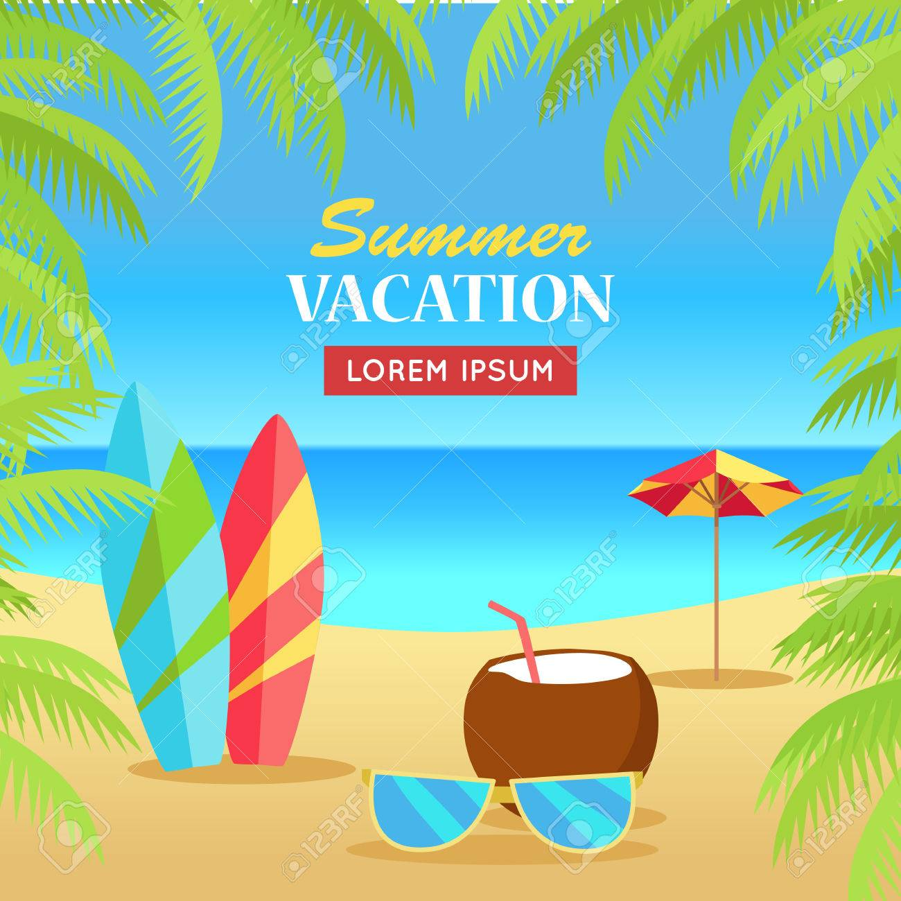 7c850561ad3 Summer vacation concept banner. Leisure on tropical sunny beach with palm  trees. Surfboards