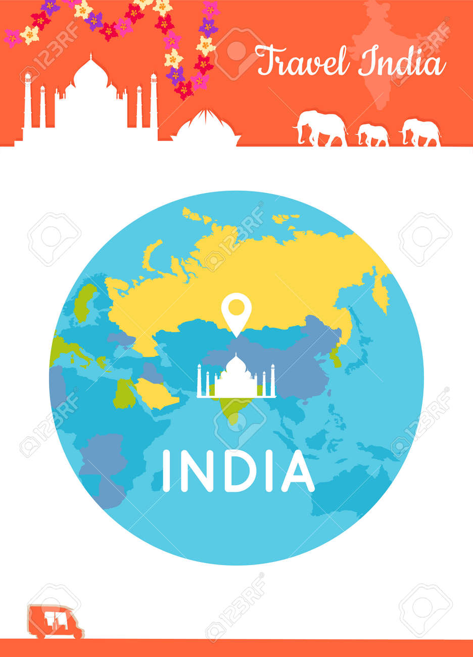 Travel India Konzeptionellen Plakat In Flachen Stil Design ...