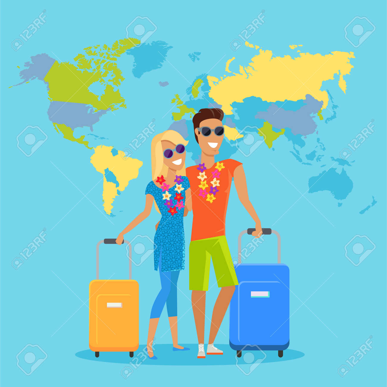 People traveling summer vacation vector in flat design honeymoon people traveling summer vacation vector in flat design honeymoon in exotic countries concept young gumiabroncs Choice Image