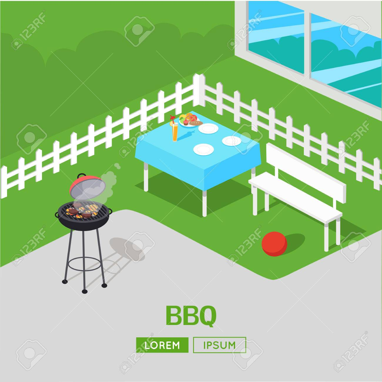 house backyard with grill bbq party vector illustration in