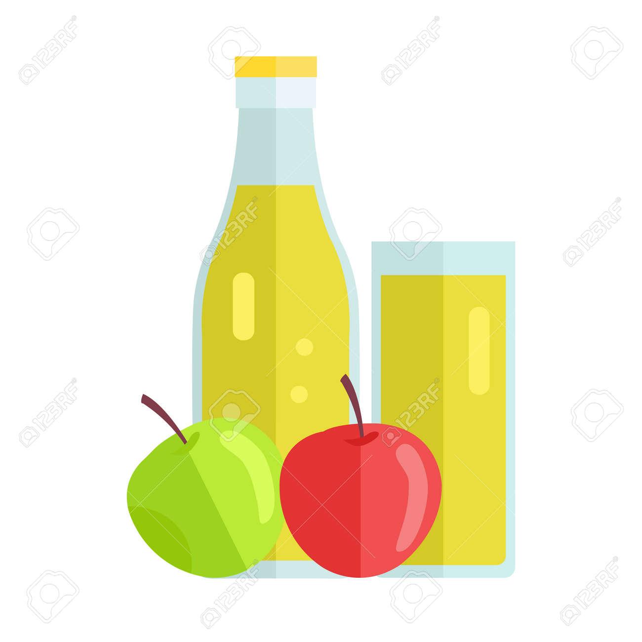 bouteille et verre avec pomme boisson. vecteur de design plat. boisson  d'été doux, le concept de jus de fruits frais. illustration des icônes, des