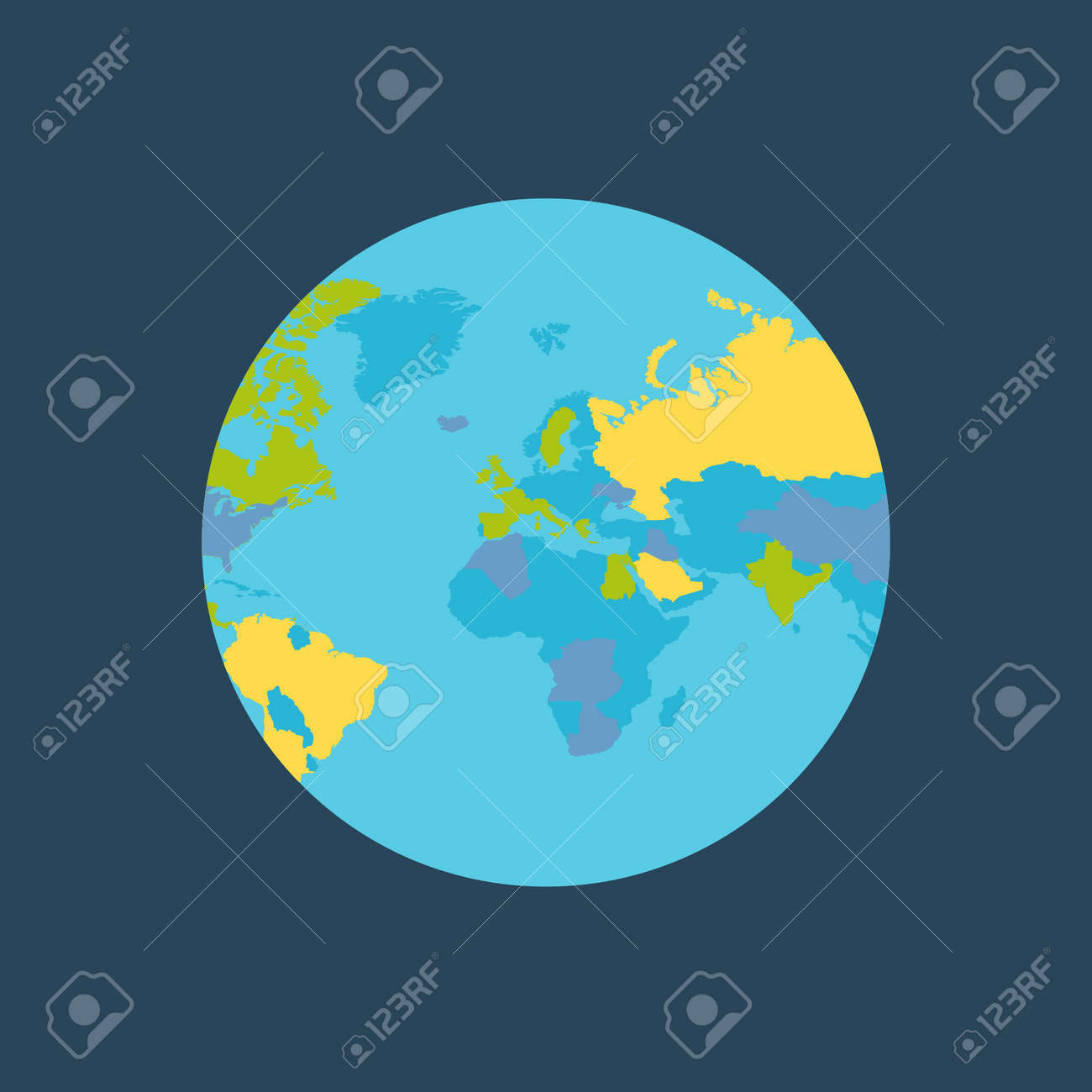 Planet earth vector illustration world globe with political planet earth vector illustration world globe with political map countries silhouettes on the planet gumiabroncs Choice Image