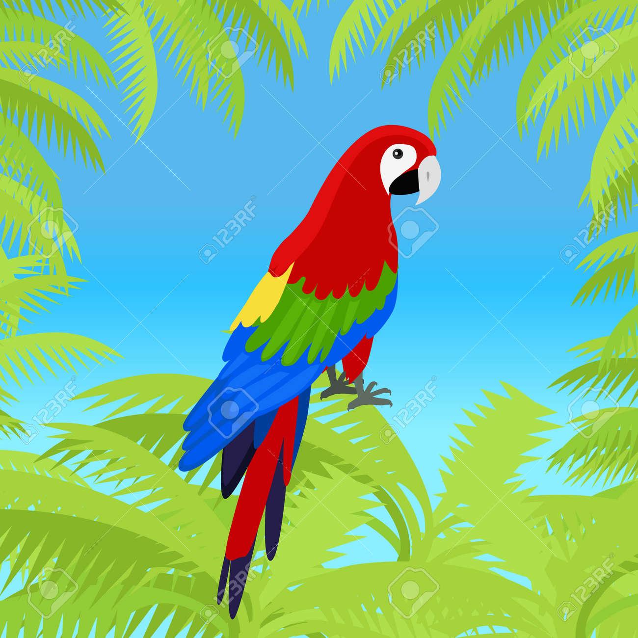 Ara Papageien Vektor-Rahmen. Vögel Der Amazonischen Wälder In ...