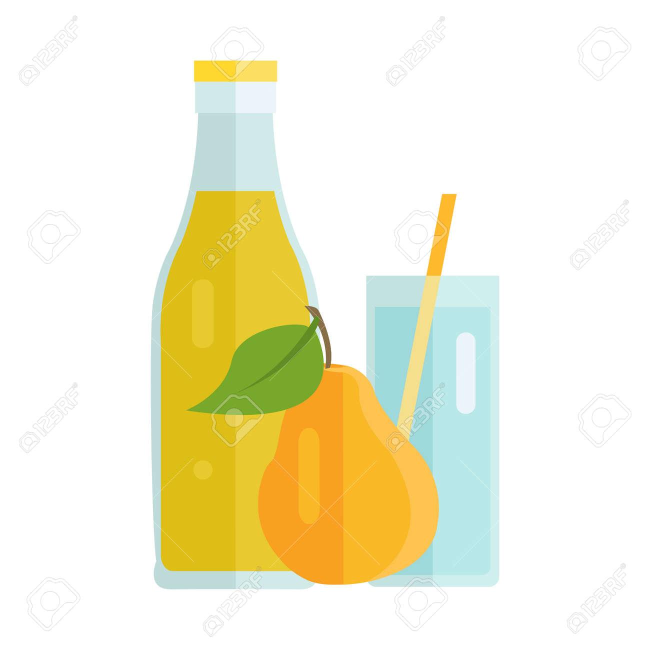 bouteille et verre avec poire boisson. vecteur de design plat. boisson  d'été doux, le concept de jus de fruits frais. illustration des icônes, des