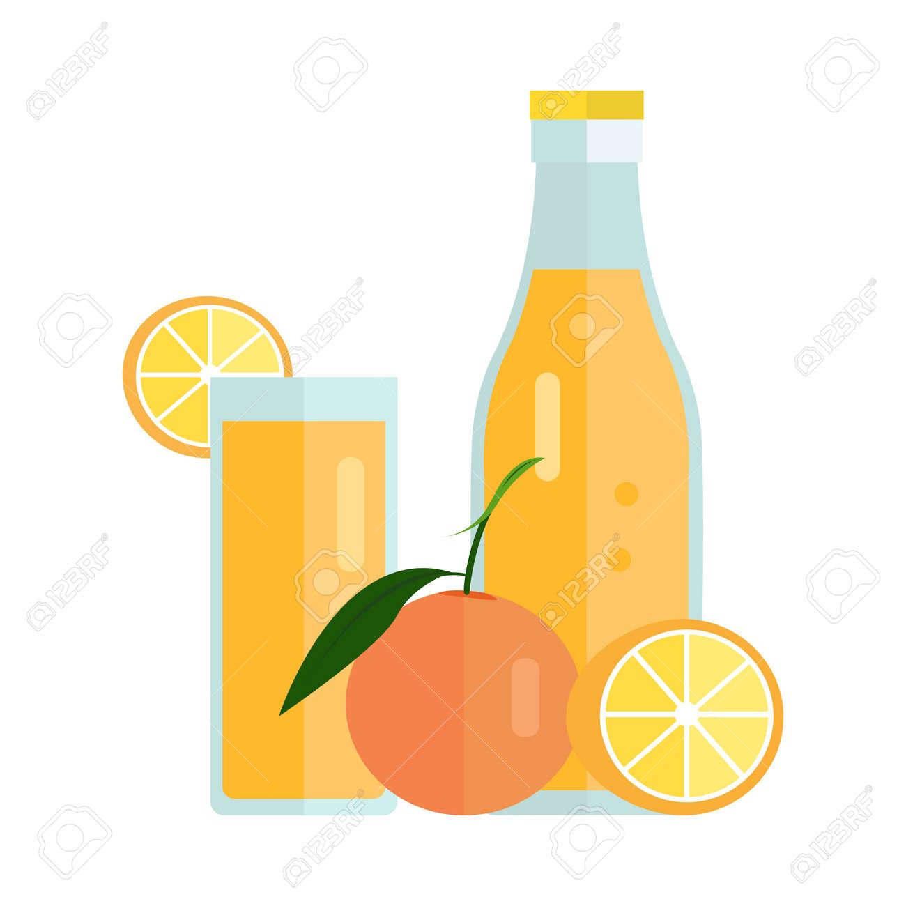bouteille et verre avec boisson orange. vecteur de design plat. boisson  d'été doux, le concept de jus de fruits frais. illustration des icônes, des