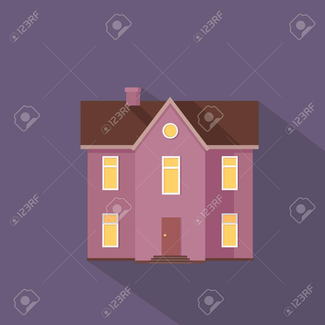 Due Stored Casa Di Campagna Isolata. Esterno Casa Icona Simbolo ...