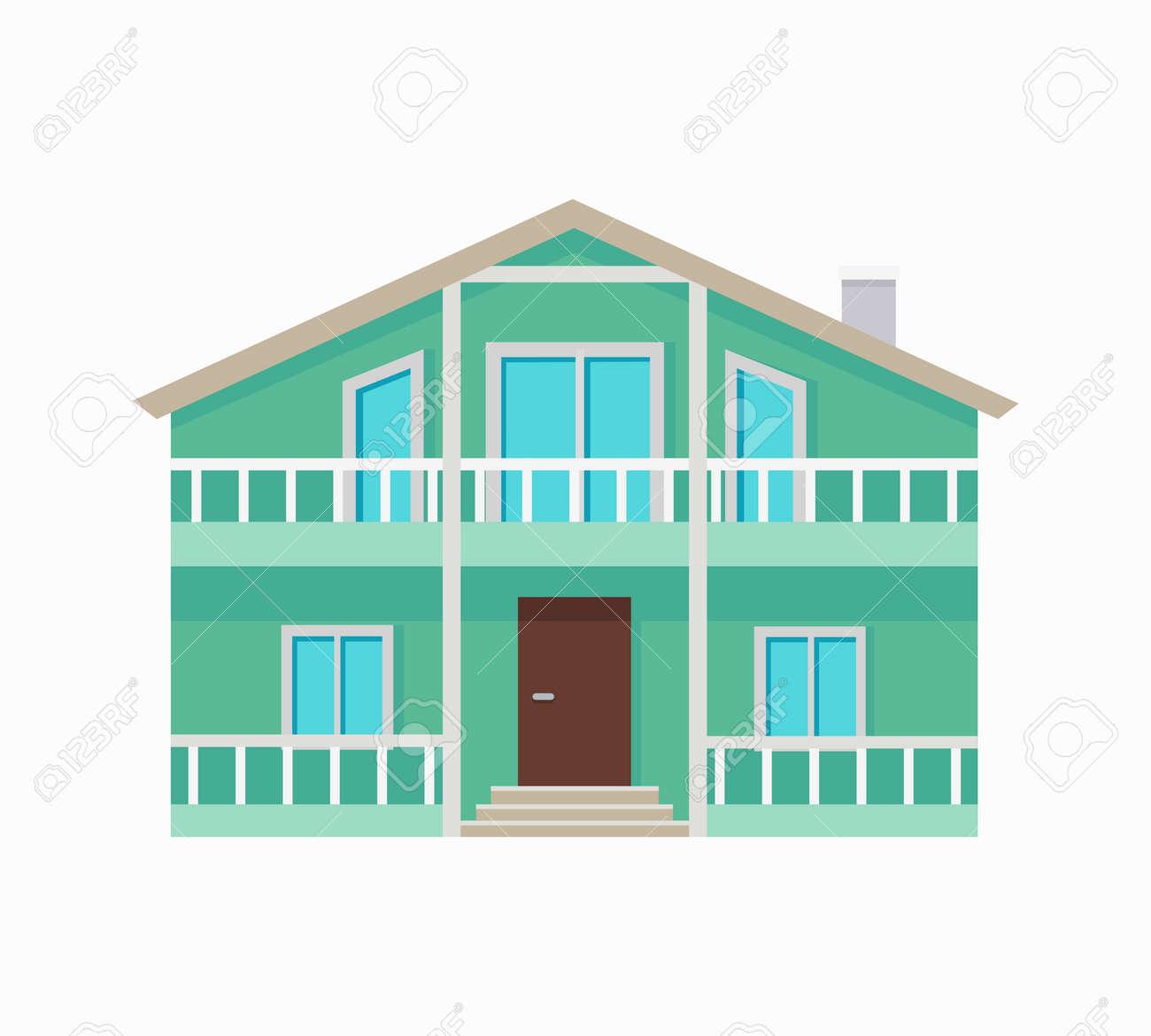 Dos Almacenado Casa De Campo Con Terraza Aislada El Exterior Del Símbolo De Icono De Inicio Casa Residencial En Colores Verdes Parte De La Serie De