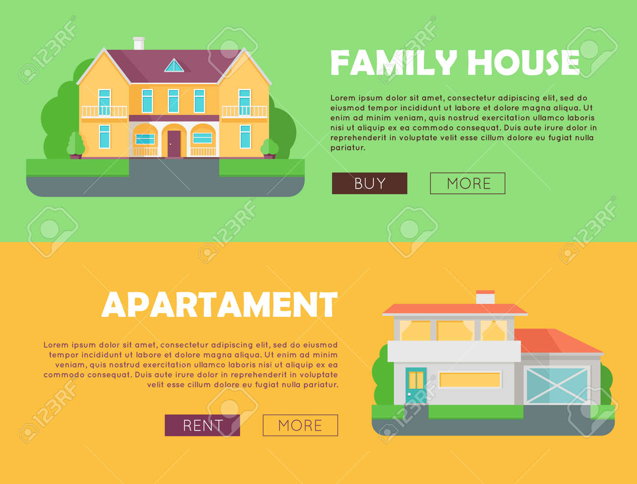 Family House Concept. Modern Apartment Concept. Set Of Website ...