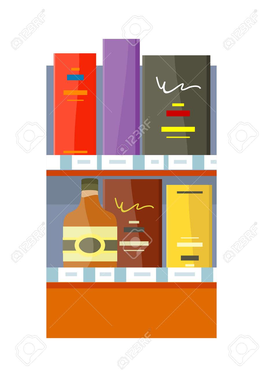 alkohol in-store-konzept vektor in flachen stil. regal mit flaschen