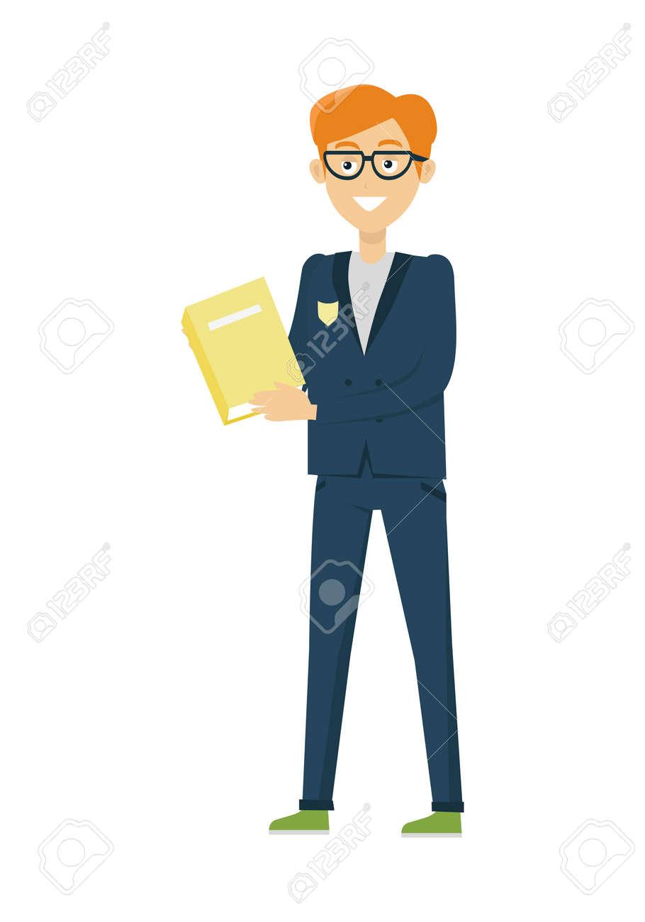 青いジャケットと本とズボンの少年学校の制服を着た少年を笑っています