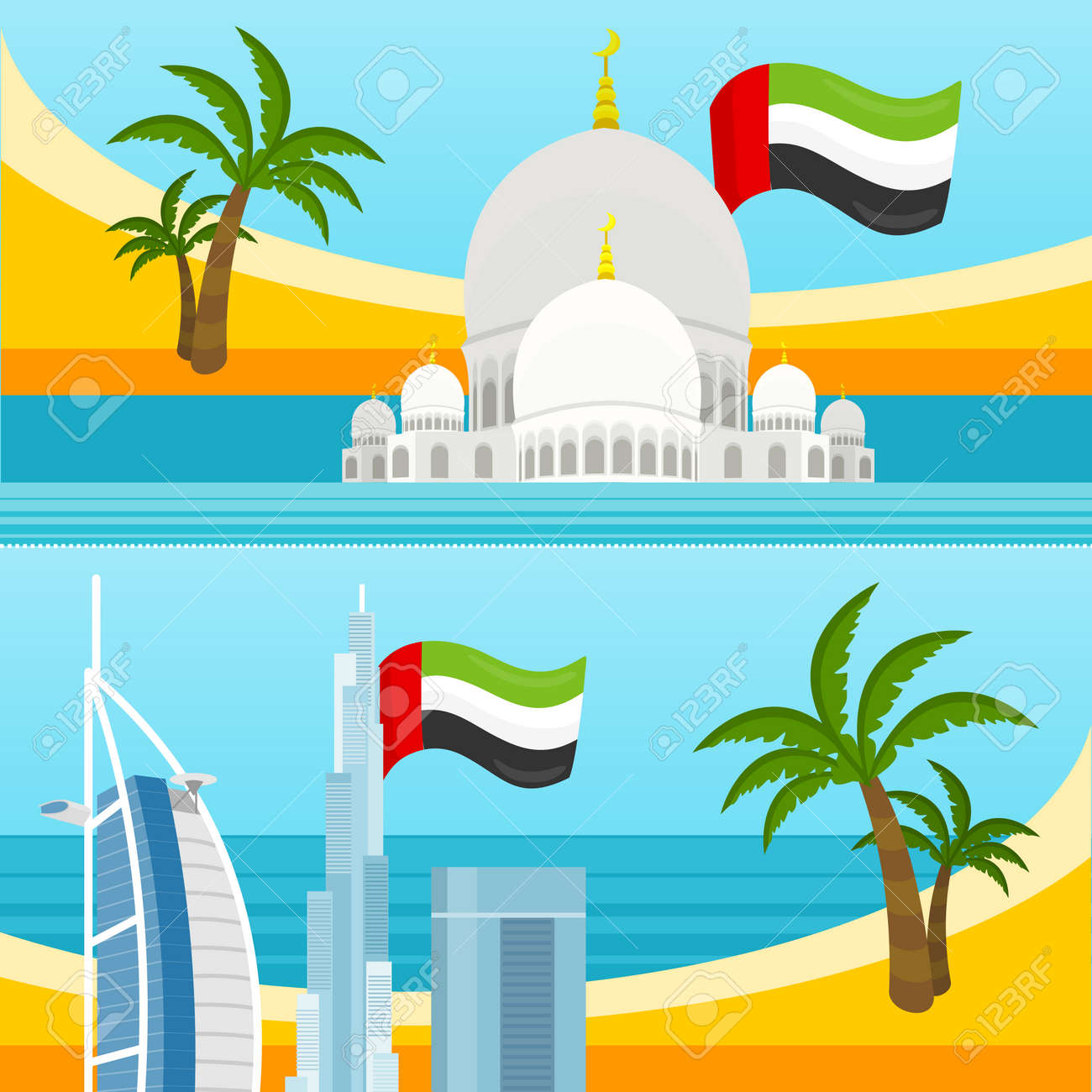 Poster design landscape - Set Of United Arab Emirates Tourism Posters Design With Attractions Emirates Landmark With Flag