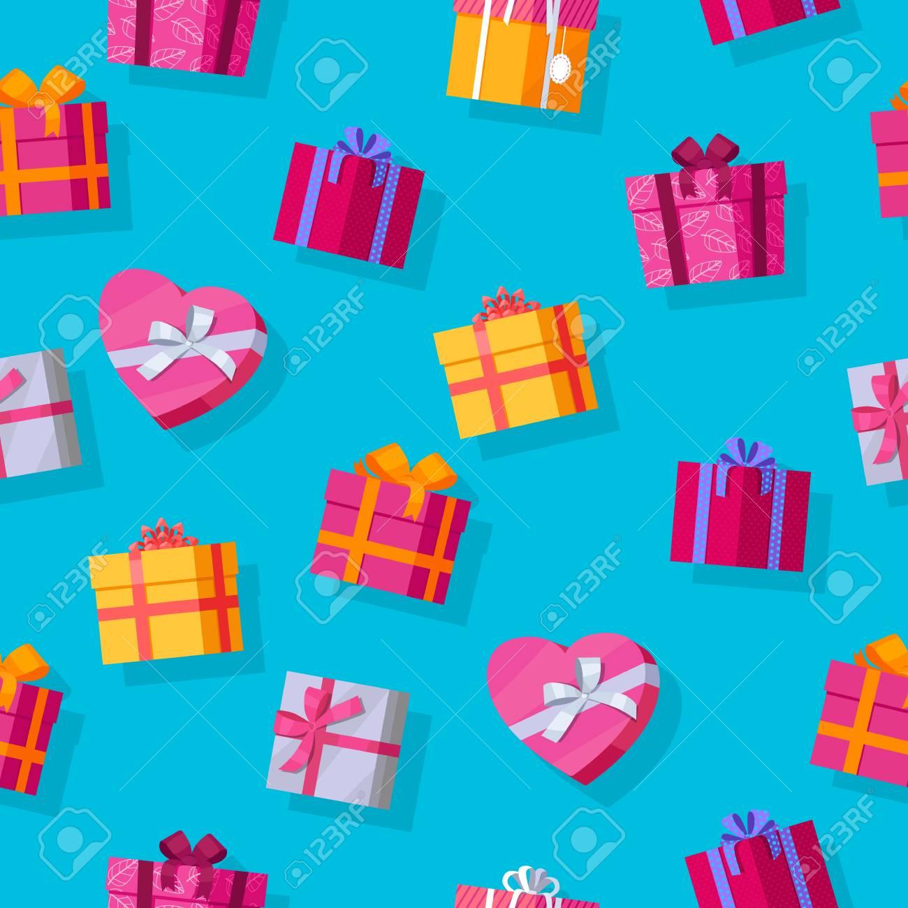 Nahtlose Muster Geschenk-Boxen. Bunte Gewickelte Geschenk-Boxen ...