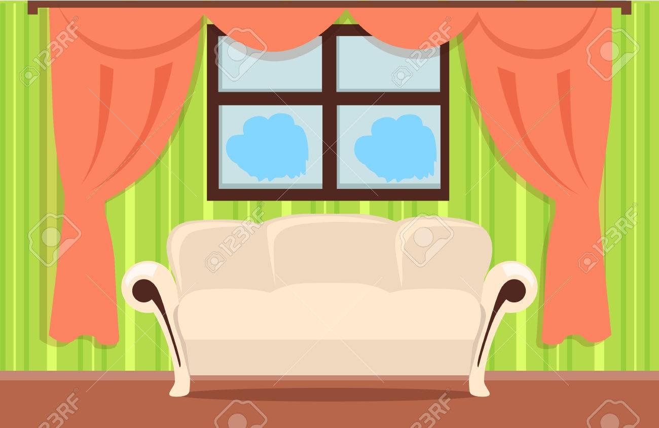 Home Interior Illustration With Beige Sofa Brown Floor Red