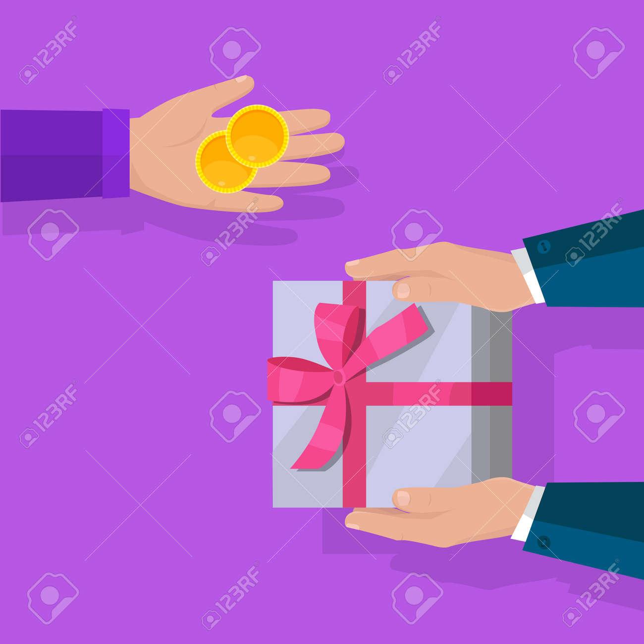 Kaufen Sie Geschenke Vektor In Flachen Design. Überraschung In ...