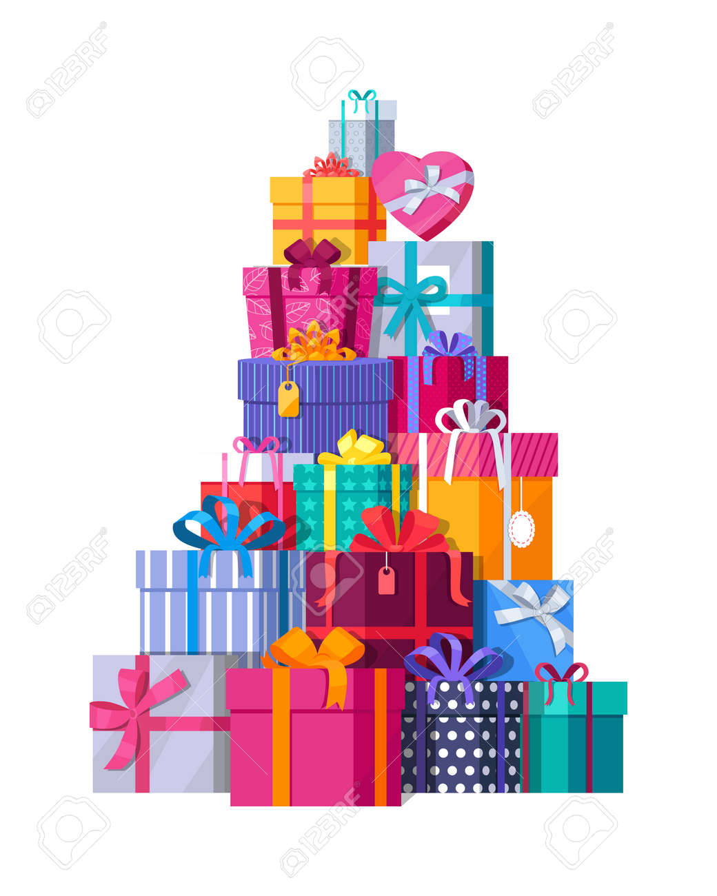 Mountain of colorful gift boxes on white background big stack of mountain of colorful gift boxes on white background big stack of christmas presents decorative negle Choice Image