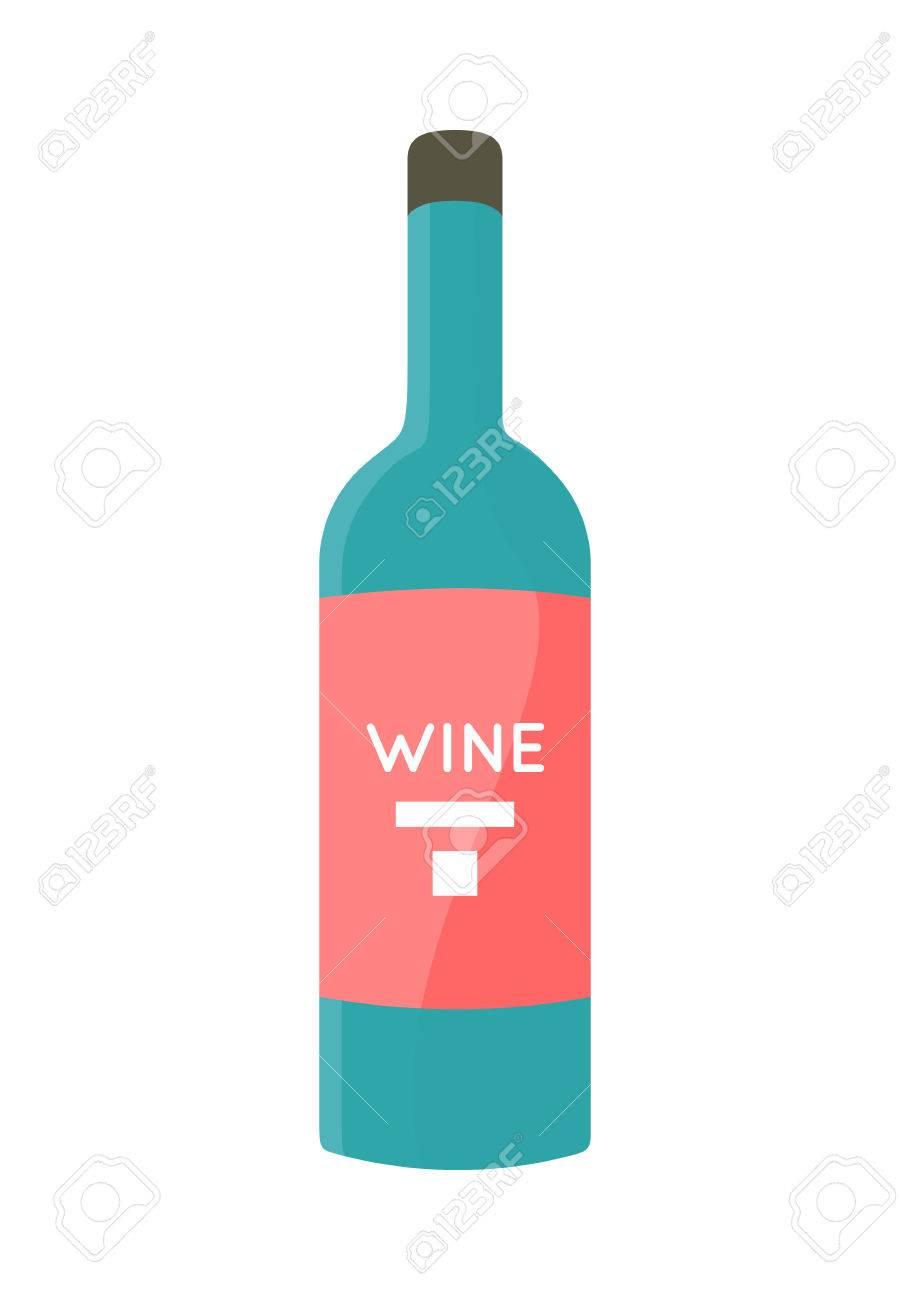 Flasche Mit Alkohol-Vektor In Flachen Stil. Glas Flasche Wein ...