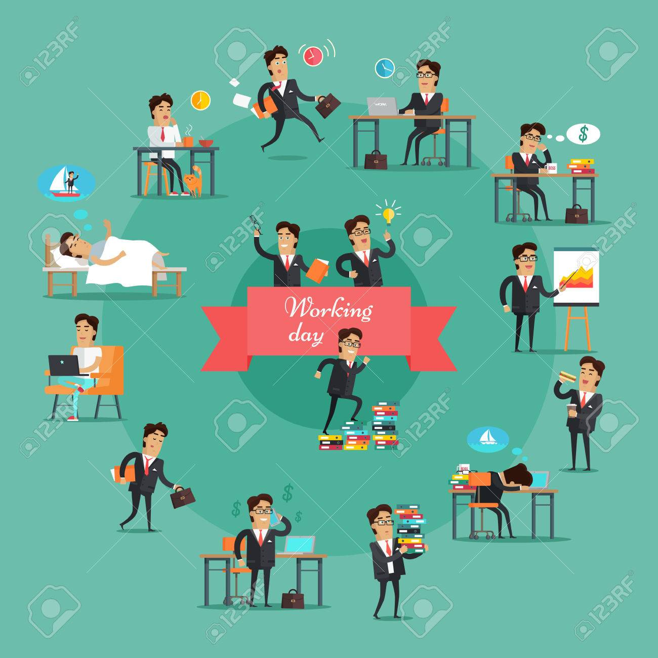 Businessman working day set. Young businessman in black business suit and tie in various work situations. Business people in office. Office life collection. Vector illustration in flat design. - 64621268