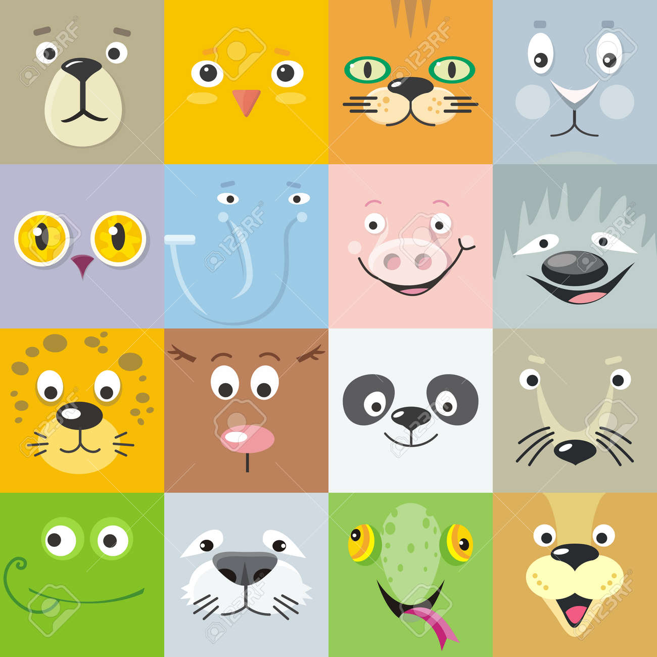 カラー動物顔のベクトルのセット。フラットなデザイン。哺乳類および鳥の