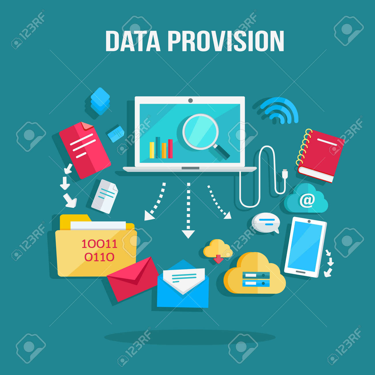 Data Provision Banner. Networking Communication And Data Icons ...