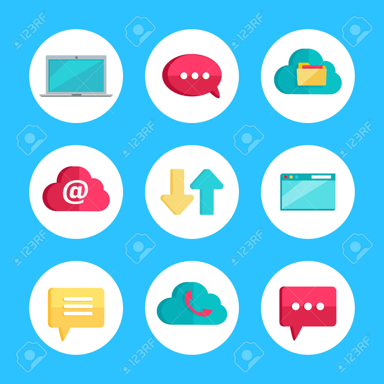 Flat Icons For Web And Mobile Applications Laptop Speech Bubble