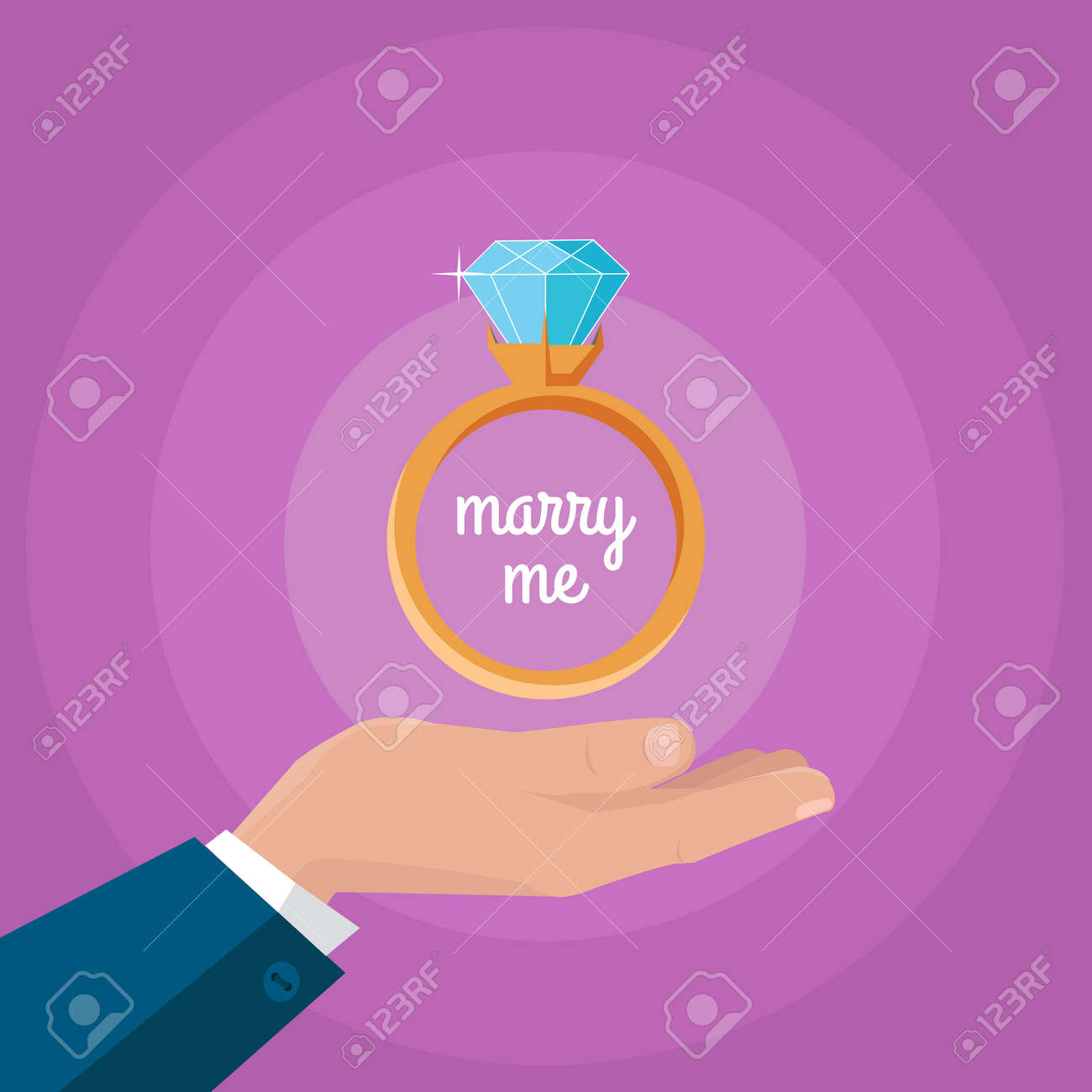 Marry Me Vector Concept In Flat Design. Gold Wedding Ring With ...
