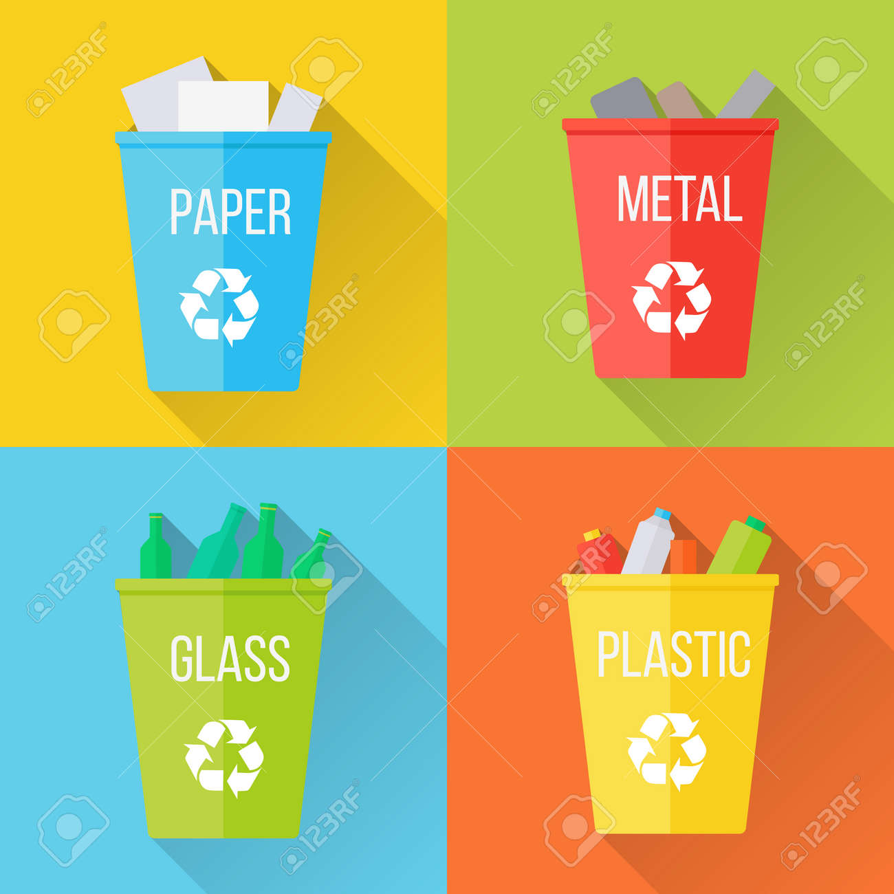 Color Recycle Garbage Bins With Paper Glass Plastic Metal Reuse Or Reduce