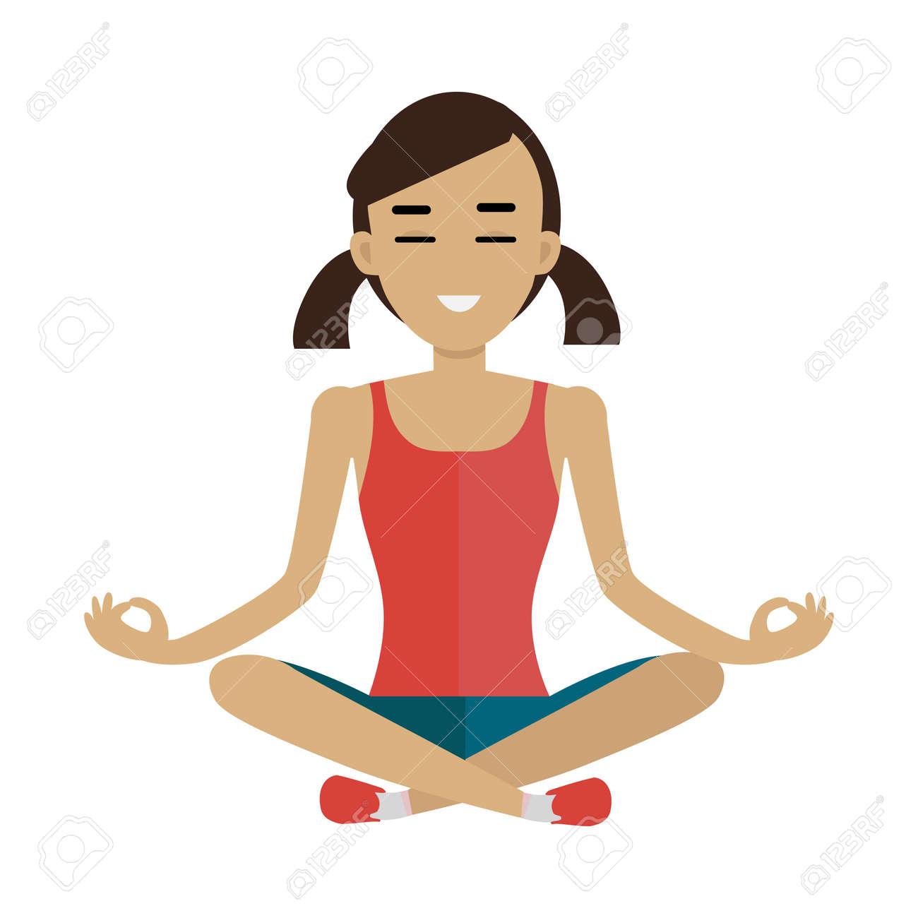 Femme Zen Dans La Pose De Yoga. Méditer Femme. Objet Isolé Dans La  Conception à Plat Sur Fond Blanc. 6e9ac14505f