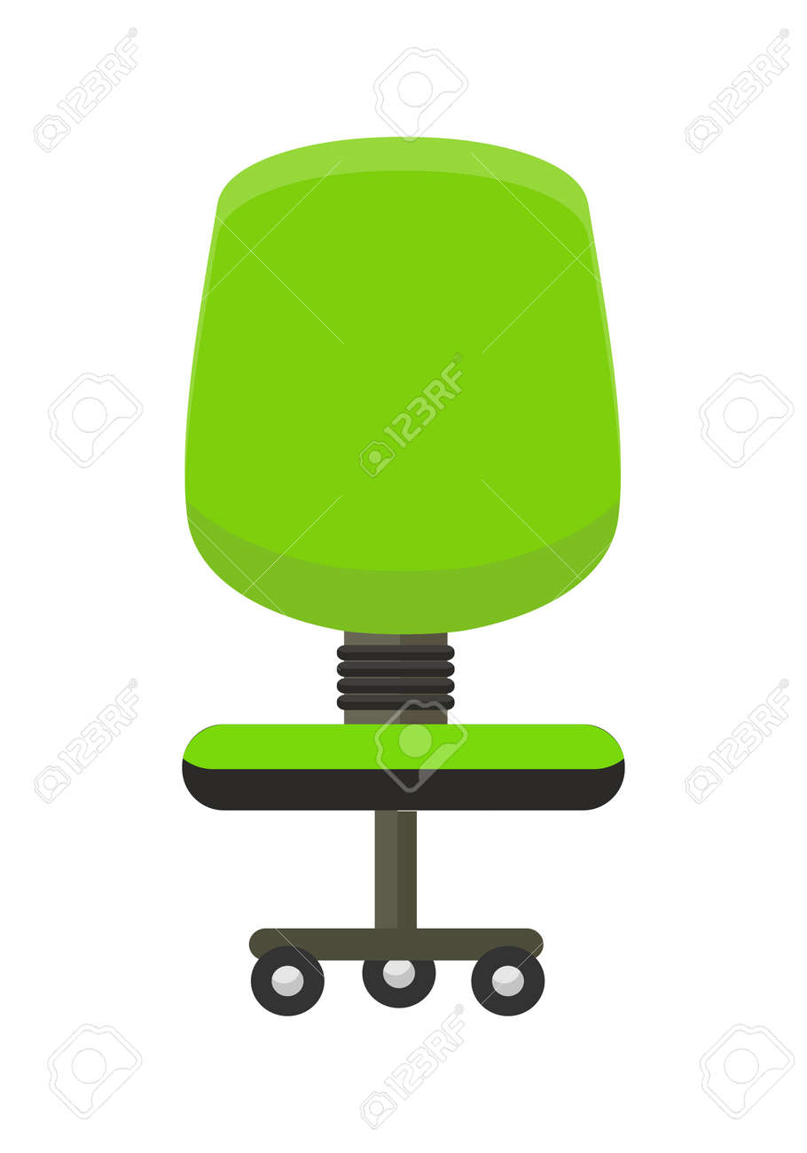 Green Office Chair Icon. Office Chair In Colorful Flat Design Style. Chair  On Wheels