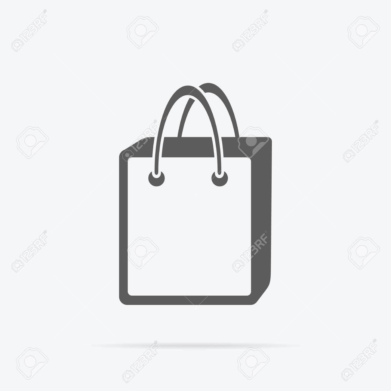 Simple sac icône. Gris pictogramme ligne de sac en papier avec poignées et sous son ombre. Vector illustration pour les services commerciaux, les
