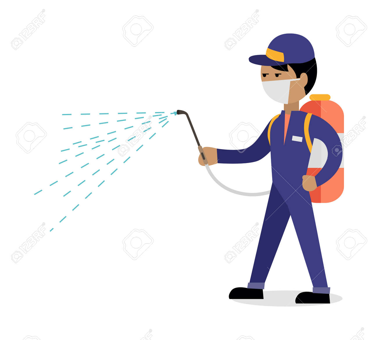 Pest control concept vector in flat style design. Man in uniform with face mask spray pesticides from sprayer on back. Chemical treatment against termites, cockroaches, fleas, agricultural pests. - 64620358