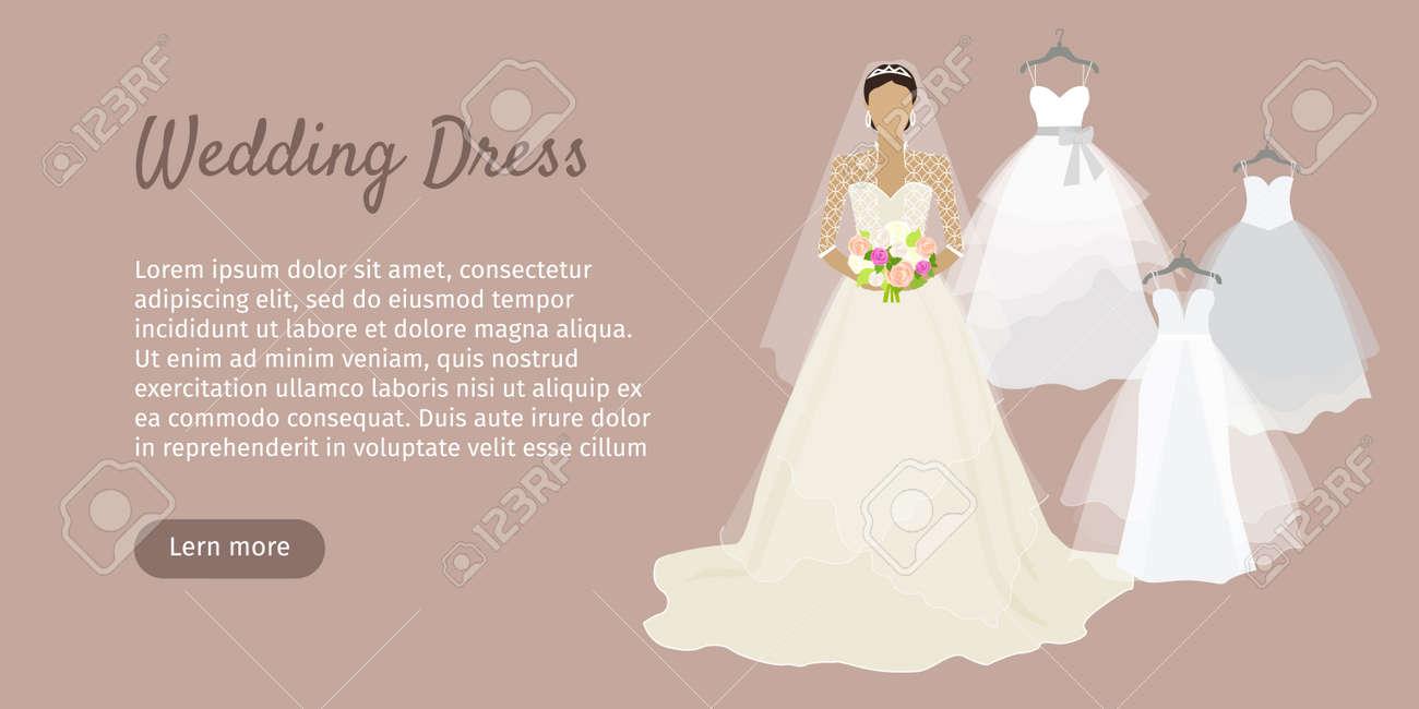 Wedding Dress Web Banner. Fashionable Bride Shop Poster. Celebration ...