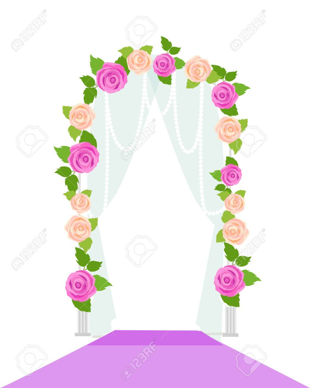 Wedding arc door with flowers isolated on white romantic gentle vector wedding arc door with flowers isolated on white romantic gentle element for wedding design junglespirit Image collections