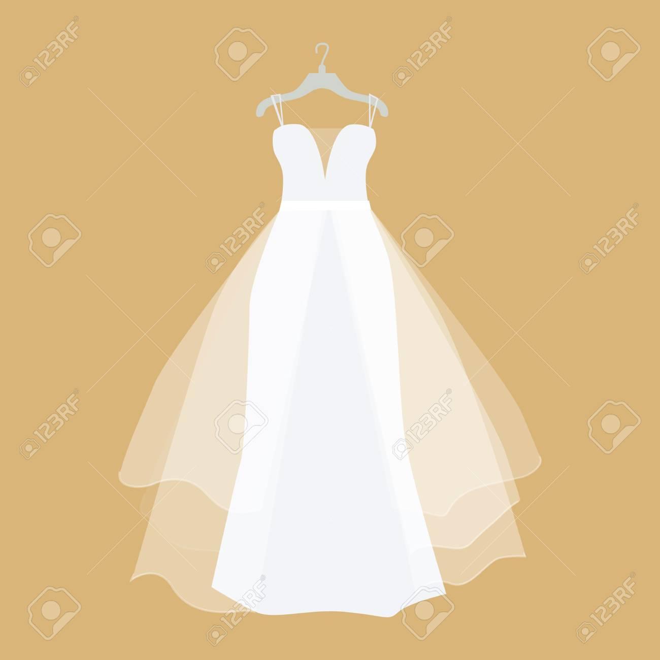 Wedding Dress Vector. Flat Design. Elegant White Dress For Bride ...