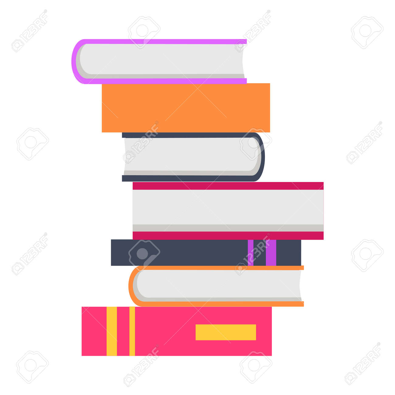 stack of seven books in flat book pile icon book concept business rh 123rf com  stack of books vector png