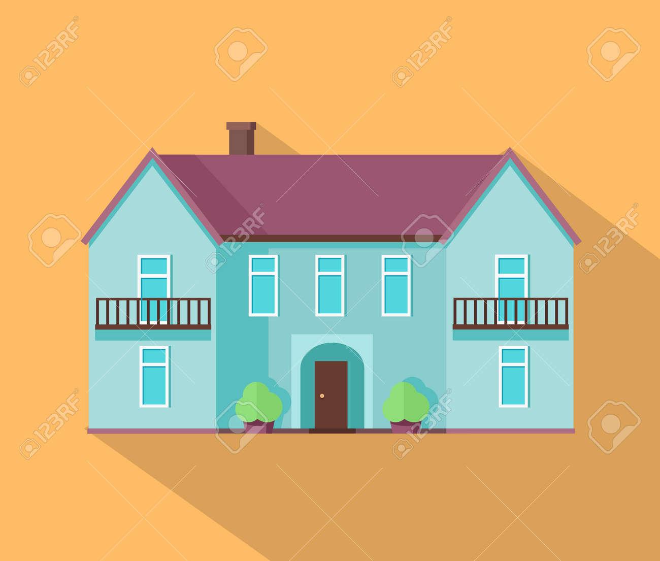 Maison Heureux Avec Modèle D\'affiche Terrasse Bannière. Extérieur ...