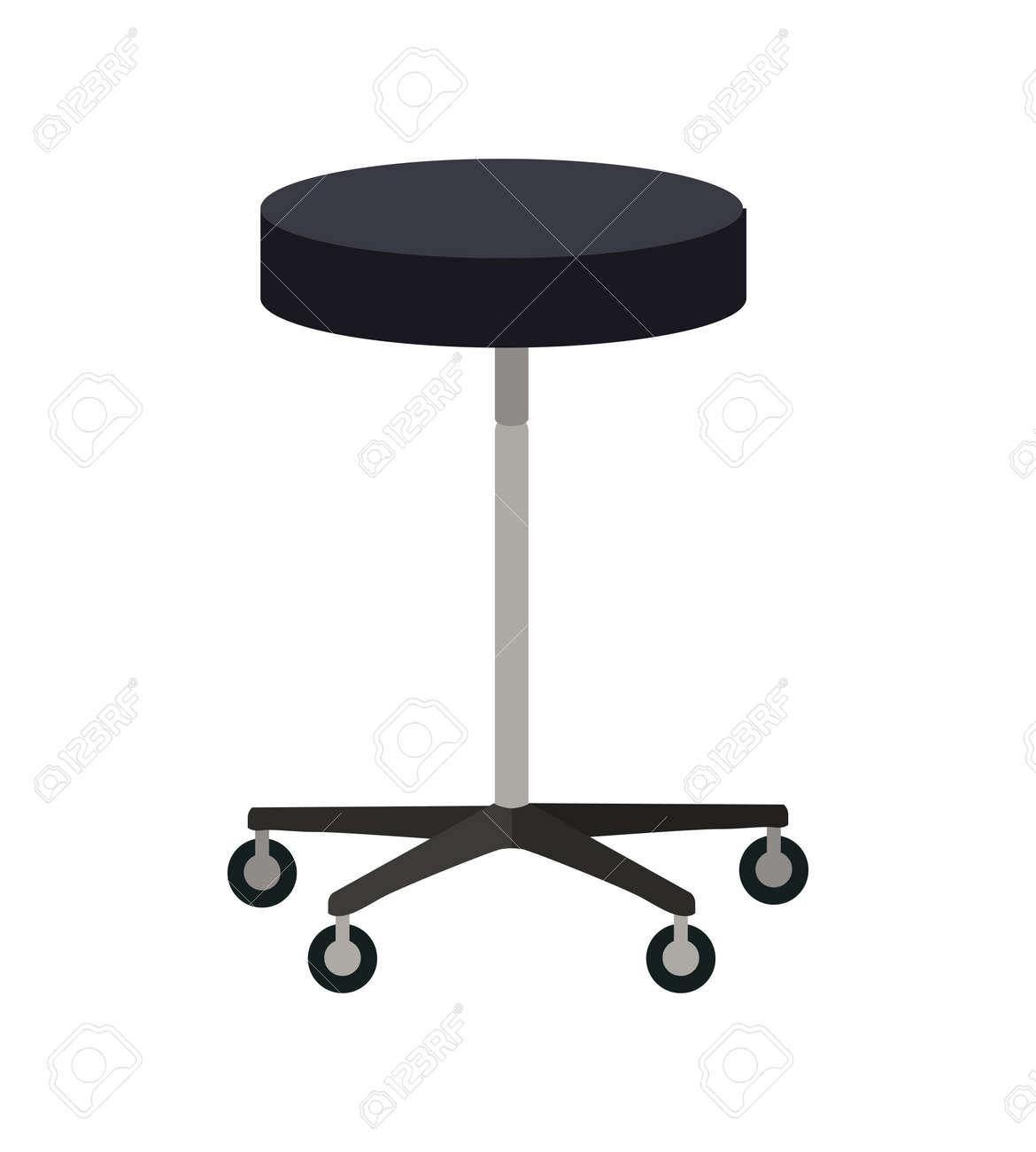 Hocker Auf Rädern Vektor. Flaches Design. Einfache Rund Stuhl Mit ...