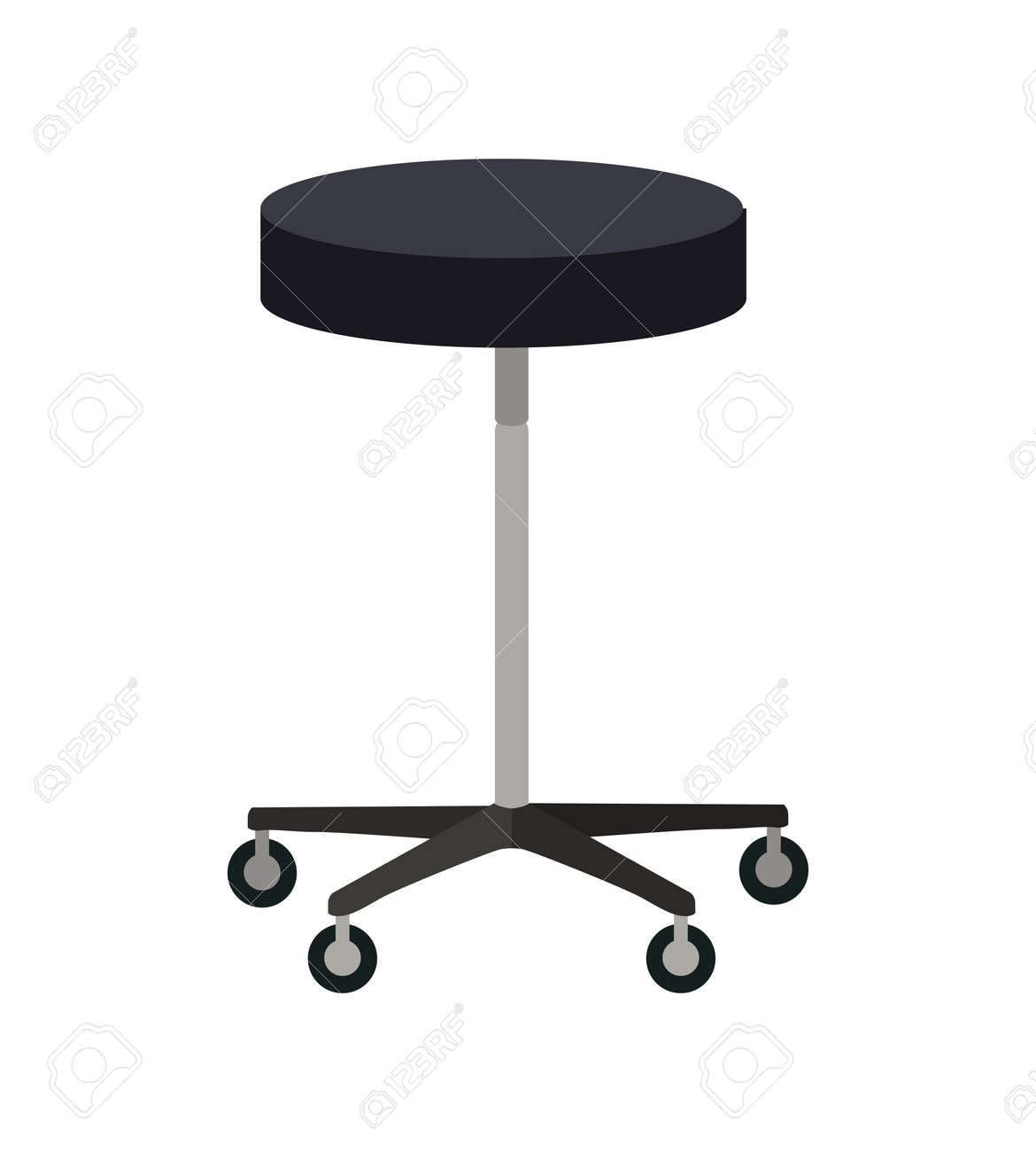Stool On Wheels Vector Flat Design Simple Round Chair With