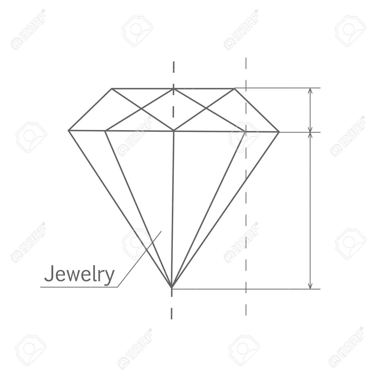 Diamond esquema grfico forma de diamante blueprint esquema de blueprint esquema de joyas joya craft la fabricacin de joyas un proceso de joyera hecha a mano fabricacin de joyas ilustracin vectorial aislados en malvernweather Image collections
