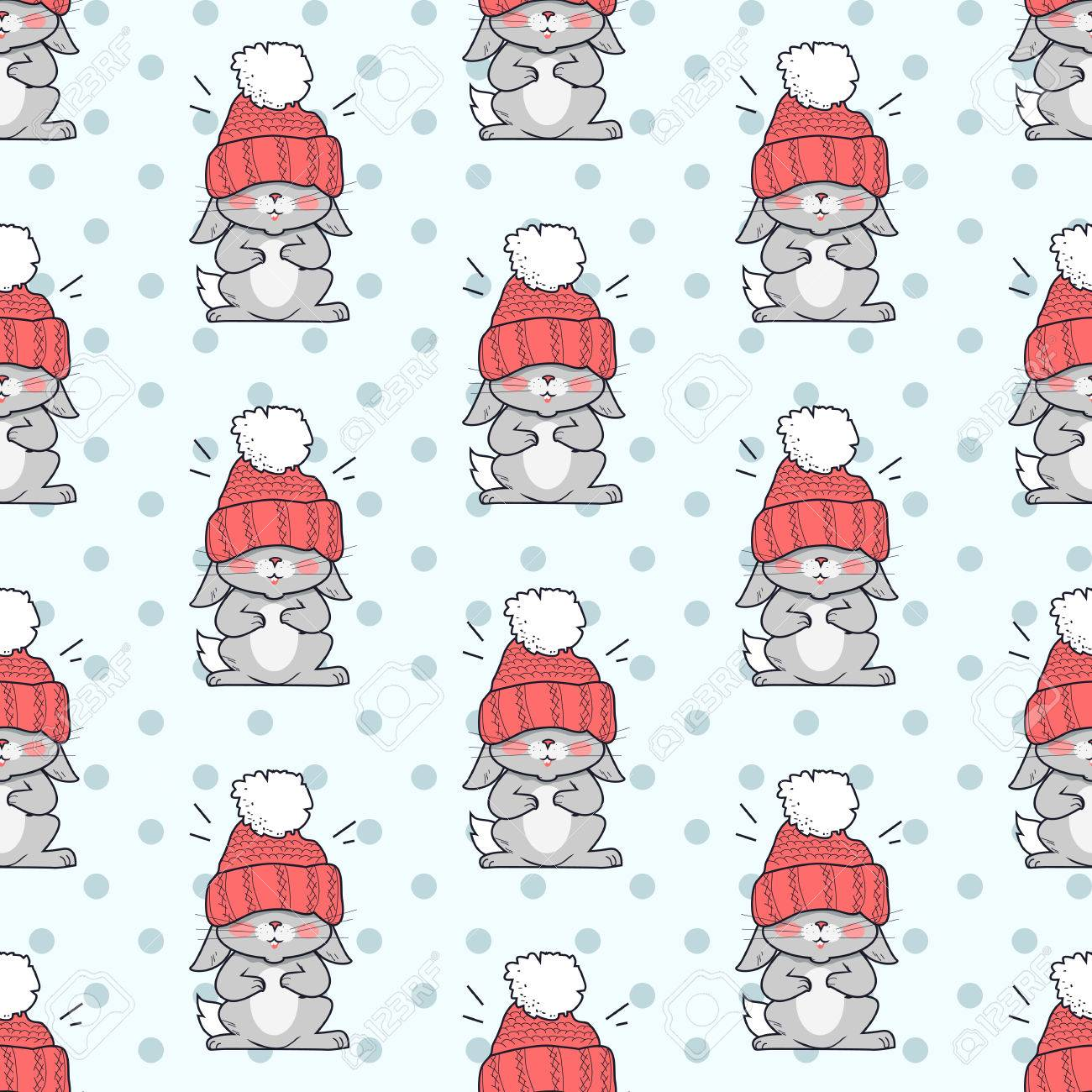 Pequeño Conejo En Gran Sombrero Rojo De Patrones Sin Fisuras ...